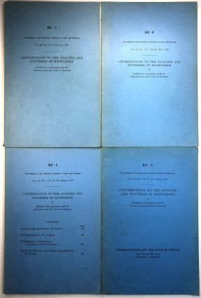 Contributions to the Analysis and Synthesis of Knowledge, in 4 parts (Proceedings of the American Academy of Arts and Sciences, Vol. 80, Nos. 1-4, )