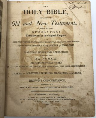 The Holy Bible, containing the Old and New Testaments: together with the Apocrypha: translated out of the original tongues, and with the former translations diligently compared and revised... to which are added, an index; an alphabetical table of all the names in the old and new testaments, with their significations; and tables of scripture weights, measures and coins, also Brown's concordance, embellished with a map of Palestine, and nine historical engravings