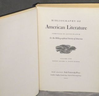 Bibliography of American Literature, Volumes 1-4 (one through four), covering Henry Adams to Joseph Holt Ingraham, the fourth volume inscribed by Jacob Blanck to one of the contributors of the BAL, Matthew J. Bruccoli