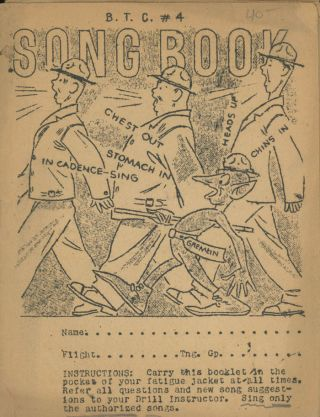 B. T. C. 4 Song Book (Basic Training Center). Military Army Song Book