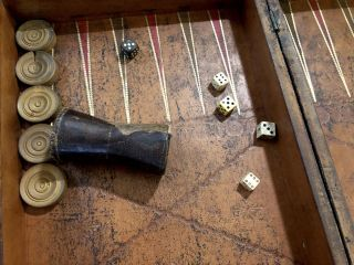 Ca. 1817 Chess and Backgammon set, in box made to...