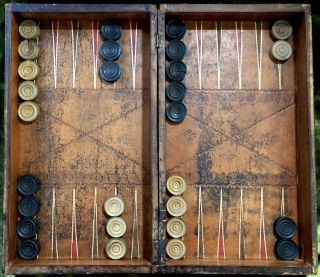 Ca. 1817 Chess and Backgammon set, in box made to imitate a two volume folio set and W. Lewis' 2 volume Oriental Chess (1817)