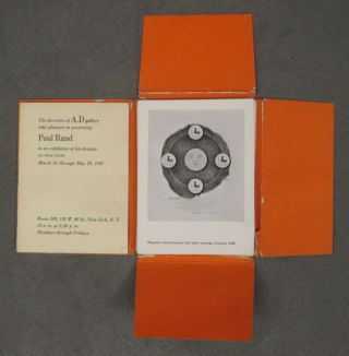 Paul Rand, in an exhibition of his designs on view from March 31 through May 29, 1947 (24 loose sheets of Rand's design, plus brochure, in box)