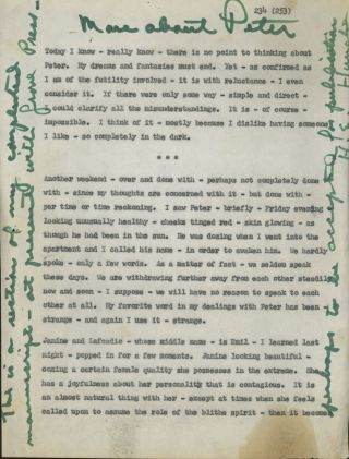2 typed pages from Michael McClure's journals with holograph notes...