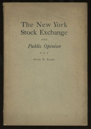 The New York Stock Exchange and Public Opinion: Remarks at...