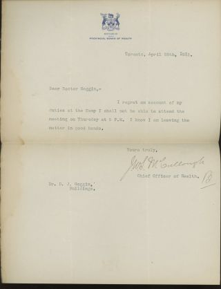 TLS from John W. S. McCullough, the Chief Office of...