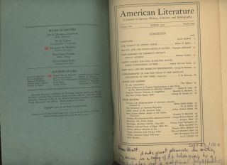 American Literature, March, 1929, Volume One, Number One -- inscribed...