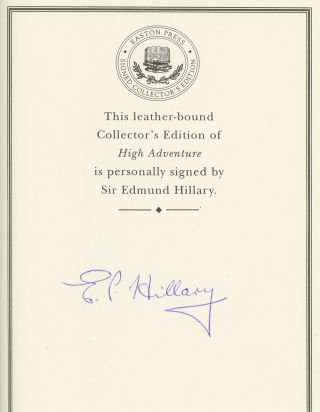 High Adventure -- Collector's Edition, signed by Sir Edmund Hillary