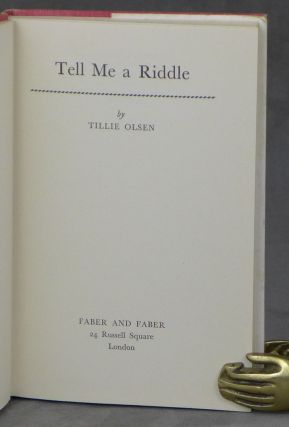 Tell Me A Riddle -- inscribed by the author to Nobel Prize winner George Wald