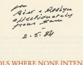 No Symbols Where None Intended: A Catalogue of Books, Manuscripts, and Other Material Relating to Samuel Beckett in the Collections of the Humanities Research Center -- inscribed by Beckett to the Targs