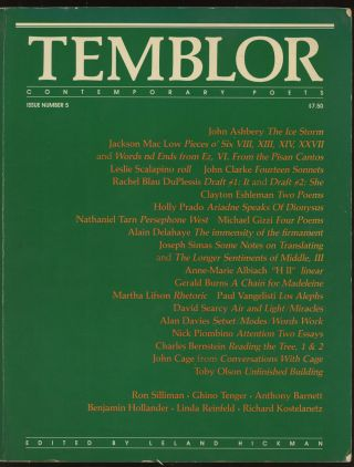 Temblor: Contemporary Poets, Number 5. Leland Hickman, Jackson Mac Low John Ashbery, Toby Olson,...