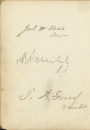 1879 Autograph Album compiled by Lizzie Burnett, with signatures of President Rutherford B. Hayes, all 7 members of his Cabinet, 8 Supreme Court justices, 70 senators, including Ambrose Burnside, and 112 members of the house, including President James A. Garfield, who served in the 46th US Congress