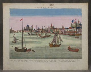 """Prospect von London"" vue d'optique with hand-colored copper plate engraving, text at bottom..."