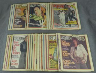 Near complete run of Rolling Stone magazine from 1977 (25...