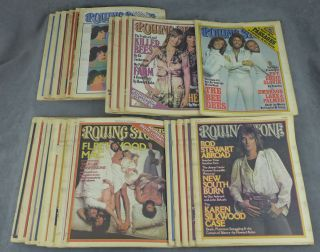 Near complete run of Rolling Stone magazine from 1977 (24...