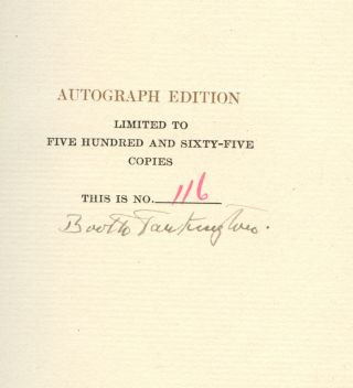 The Works of Booth Tarkington: The Gentleman from Indiana--Volume I [Signed by Tarkington]