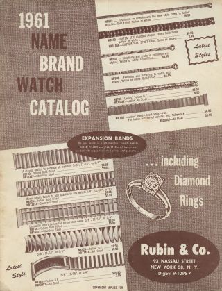 1961 Name Brand Watch Catalog...Including Diamond Rings. Rubin, Co