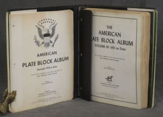 The American Plate Block Album, Vol. III (3) 1951 to Date (1961) plus many sheets from American Plate Block Album, Airmails: 1918 to Date (1964) STAMPS