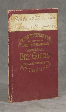 Ledger - list of items bought -- titled 'Pointers & Discounts, A. Stoner & Sons -- 1883' in a...
