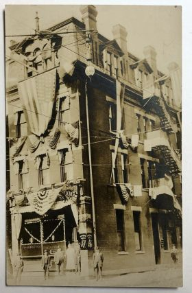 Bellevue, PA (suburb of Pittsburgh): Real Photo Postcard / RPPC ca. 1910 of building decked out...