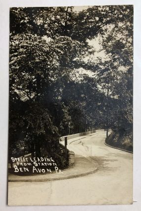 Ben Avon, PA (suburb of Pittsburgh): Real Photo Postcard / RPPC ca. 1910 of windy street and trees