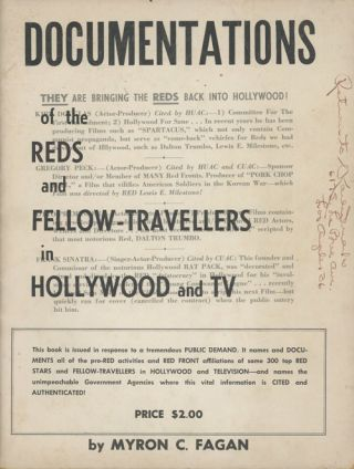 Documentations of the Reds and Fellow-Travellers in Hollywood and TV. Myron Fagan