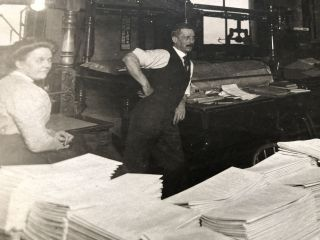 1910s 8x6 photo of collation and printing work at a printing press