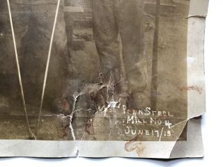 13 x 10 photo of workers at West Penn Steel Mill no. 4, JUne 17, 1913 -- with bullet hole?