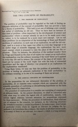 The Two Concepts of Probability (1945 offprint) -- Wilfrid Sellars' copy
