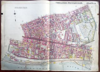 Ca. 1910s large linen-backed colored plat map of Pittsburgh: Uptown, Hill District