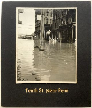 6 original 8 x 10 photos of 1936 Flood in Downtown Pittsburgh: Horne's at Penn Ave.; Diamond St....