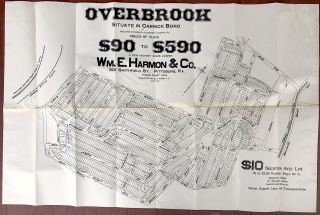 Ca. 1910 poster advertising lots in the Overbrook housing development, Carrick Boro & Baldwin....