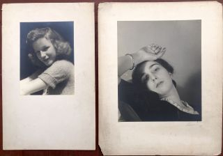 18 original signed photographic portraits of women taken in the late 1930s