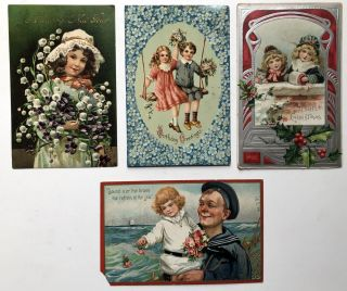 24 1905-1910s postcards, flower - floral themed, Birthday, Christmas, New Years, etc., German chromolithography