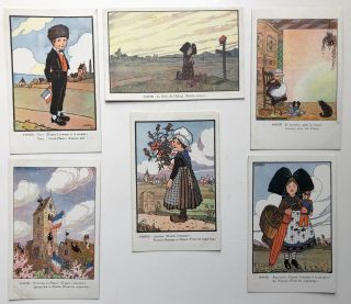 6 postcards, ca. 1916 with artwork by HANSI on Alsatian themes. Hansi, Jean-Jacques Waltz