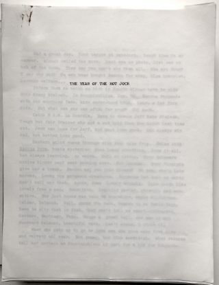 Original typescript of The Year of the Hot Jock and other stories