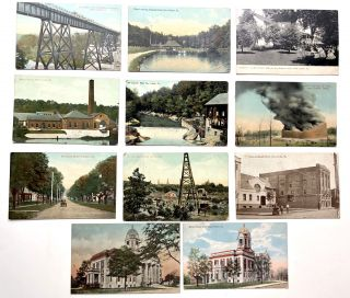 11 1910s postcards of NW Pennsylvania: New Castle, Mercer, Grove City, Franklin, Oil Country