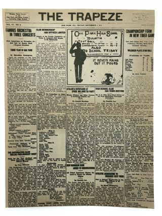 Keepsake from the 1971 Chicago Hemingway Conference, printing first page of THE TRAPEZE, November 2, 1916, with articles by Ernest Hemingway and his sister Marcelline