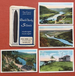 4 postcards of Chattanooga, Tennessee in a Cigar Store envelope, ca. 1925