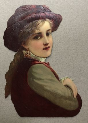 1890s die-cut of girl in handsome plum hat 9.5 x 7 inches