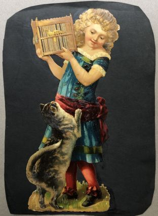 1890s large die-cut of girl holding a caged bird away from a cat