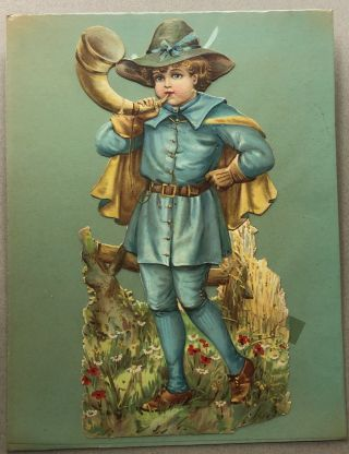 1890s large die-cut of Little Boy Blue blowing his horn