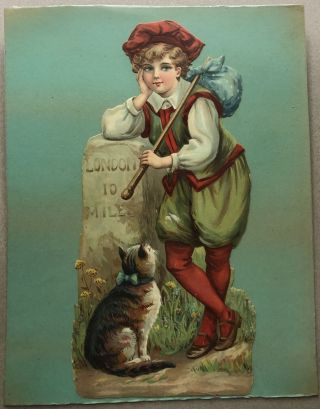 1890s large die-cut of little boy and cat, 10 miles from London
