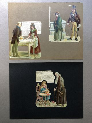 1890s 9 die-cuts illustrating characters from Charles Dickens novels