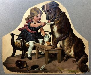 1890s large die-cut of a tea-party with dog and girl