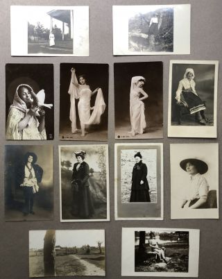 12 Ca. 1900s Real Photo Postcards RPPCs of Women Alone