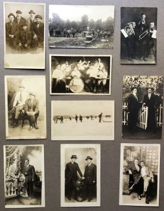 10 Ca. 1900s Real Photo Postcards RPPCs of Men in Couples or Groups
