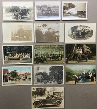 13 early 1900s postcards all related to cars / automobiles -- some Real Photo Postcards