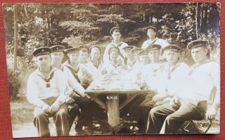 RPPC, Real Photo postcard, 16.VI.13 (June 16, 1913) of German sailors wearing hats of the SMS...