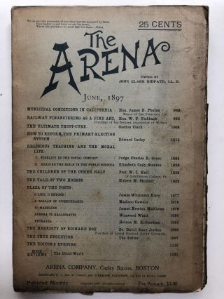 The Arena, June 1897. John Clark Ridpath, James Whitcomb Riley, ed. Elizabeth Cady Stanton